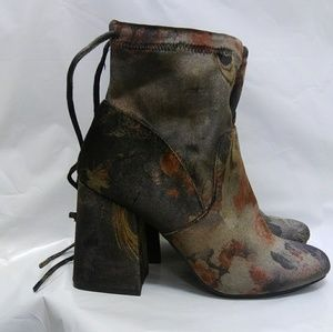 New Floral Velvet/Suede Brocade Ankle Boots